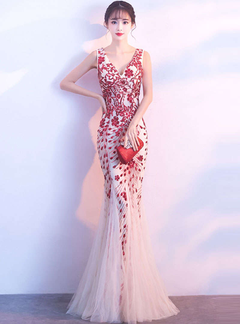 Red V-Neck Embroidered Fishtail Formal Dress