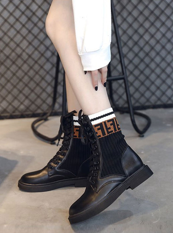 Black Spliced Lace Up Printed Casual Boots