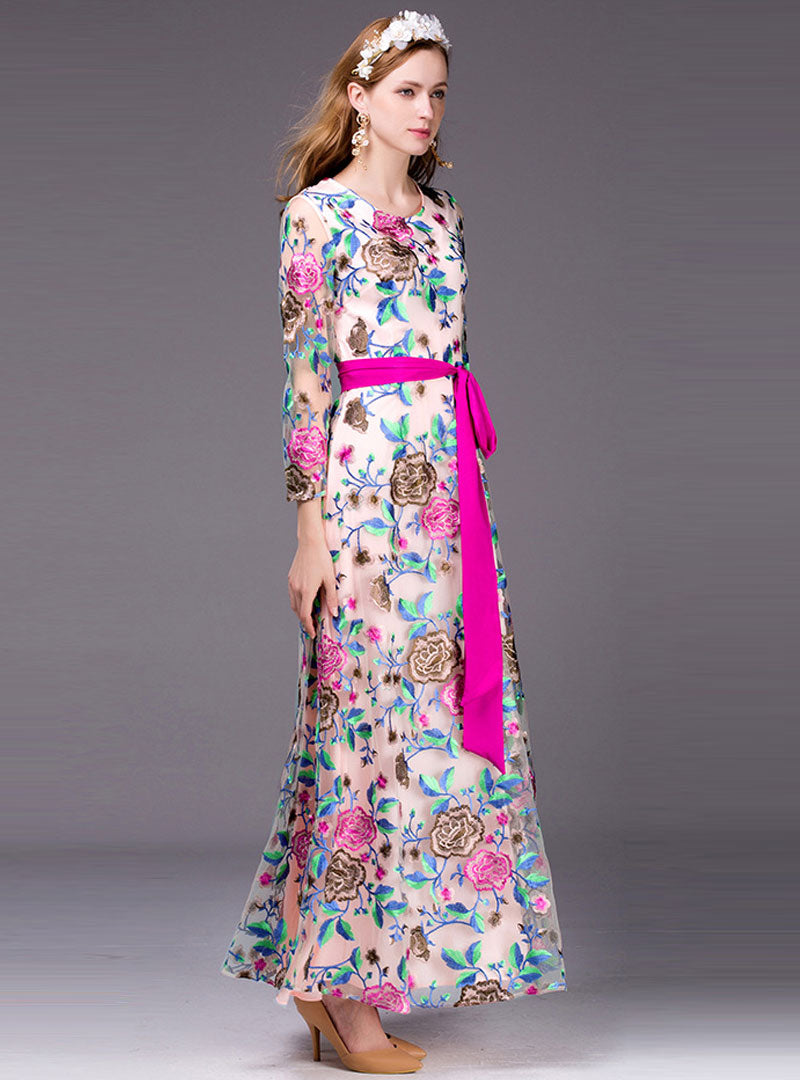 Floral Embroidered Maxi Dress With Belt