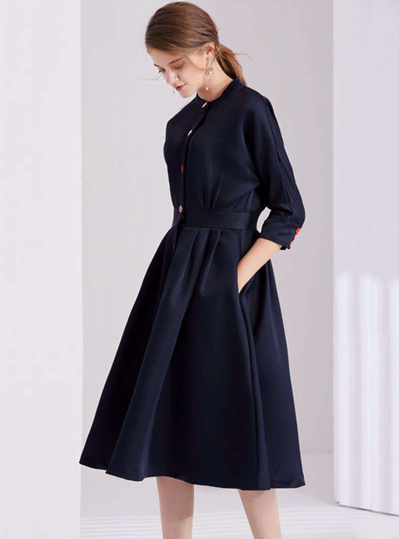 Dark Blue Front Buttoned Swing Midi Dress