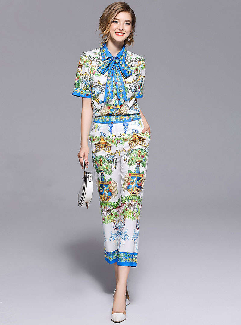 Court Printed Lapel Bow Neck Two-piece Outfits