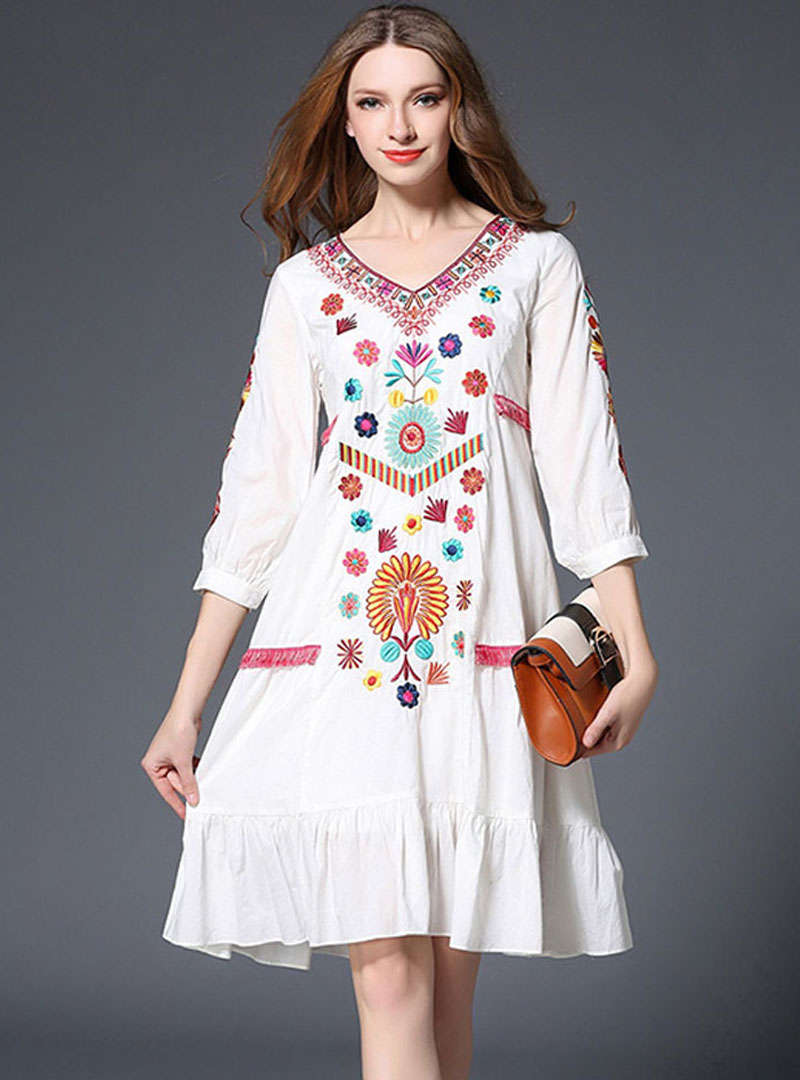 White Flax Lantern Sleeve Falbala Midi Dress