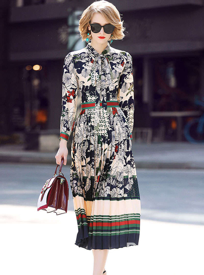 Green Retro Floral Printed Lace-up Midi Dress