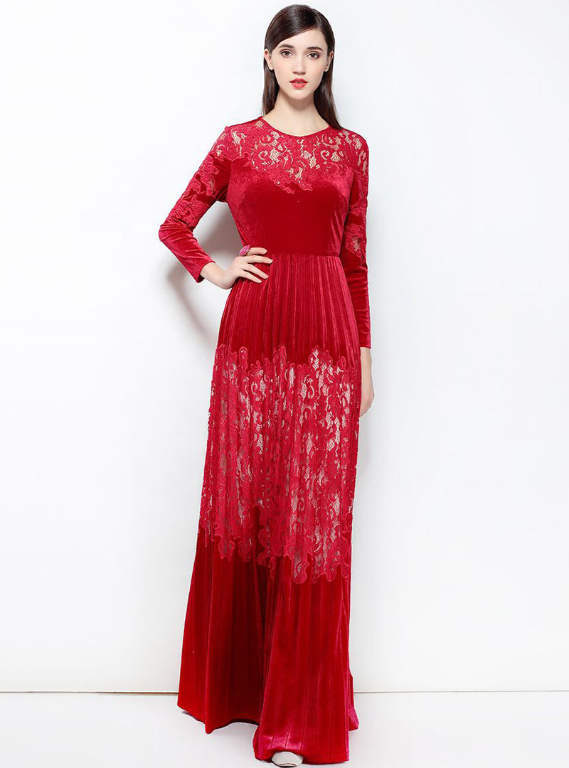 Elegant Lace Long Sleeve Maxi Dress