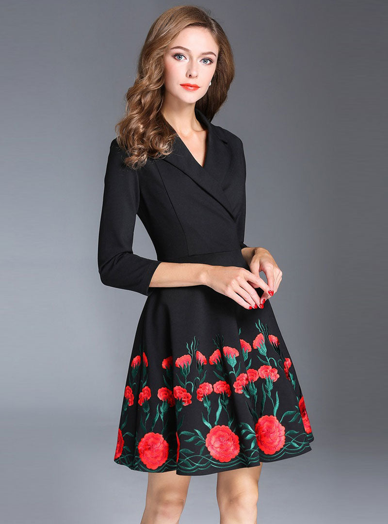 Black Floral Embroidered Suit Collar Mini Dress
