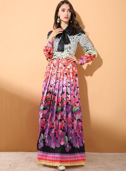 Multi Color Floral Printed Maxi Dress
