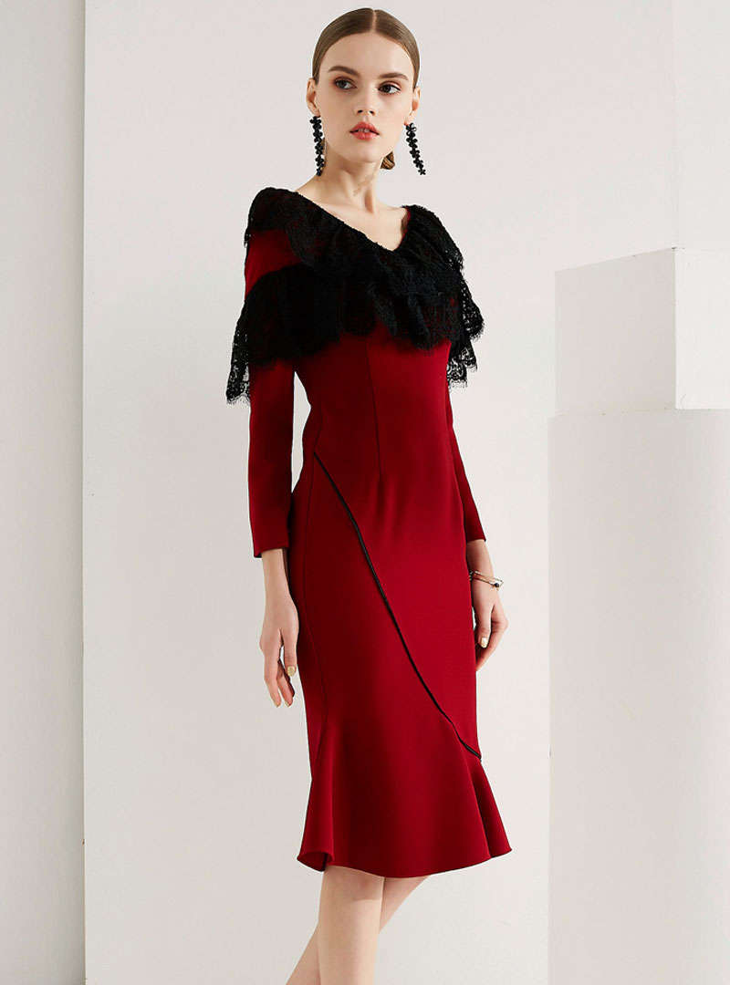 Wine Red Lace Spliced Mermaid Midi Dress
