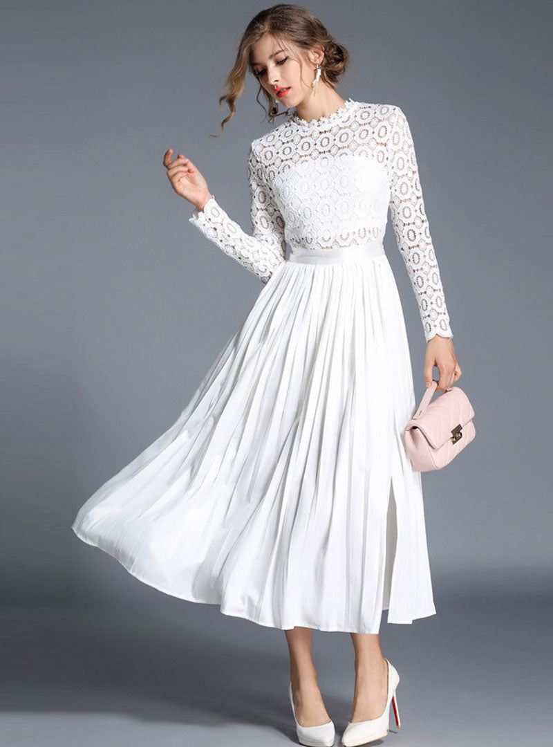White Lace Spliced Cinched Waist Chiffon Maxi Dress