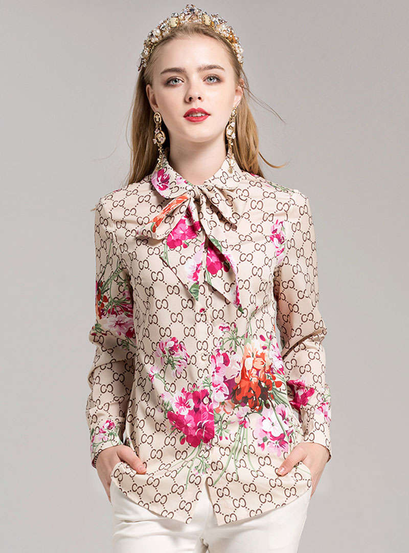 Beige Floral Printed  Bow Neck Blouse