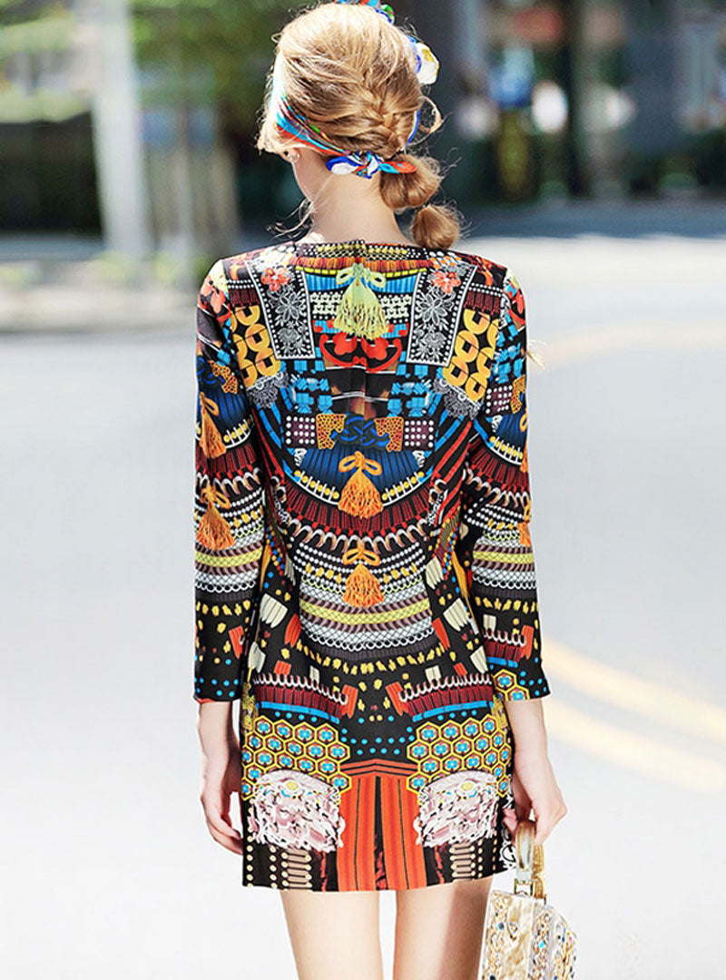 Multicolor Print Mini A-line Dress