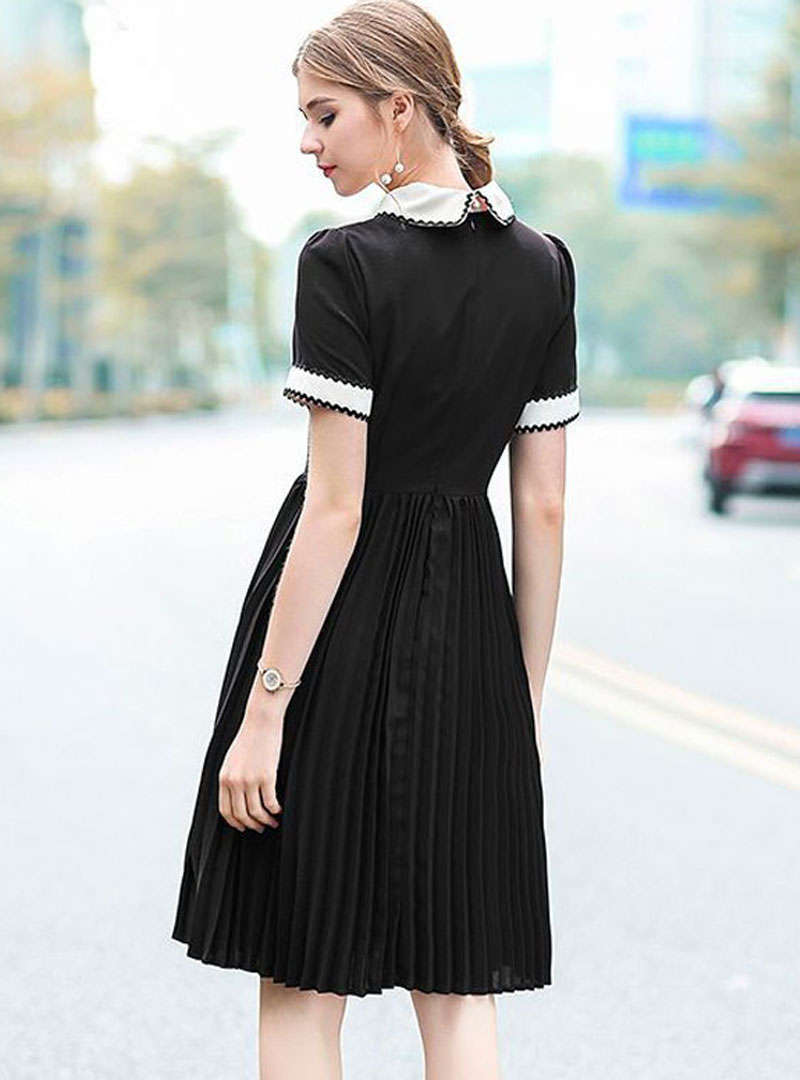Black Embroidered Pleated Midi Dress