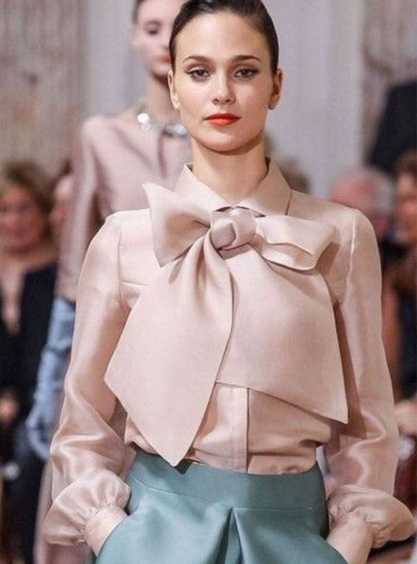 Elegant Pink Shirt Collar Blouse With Bow