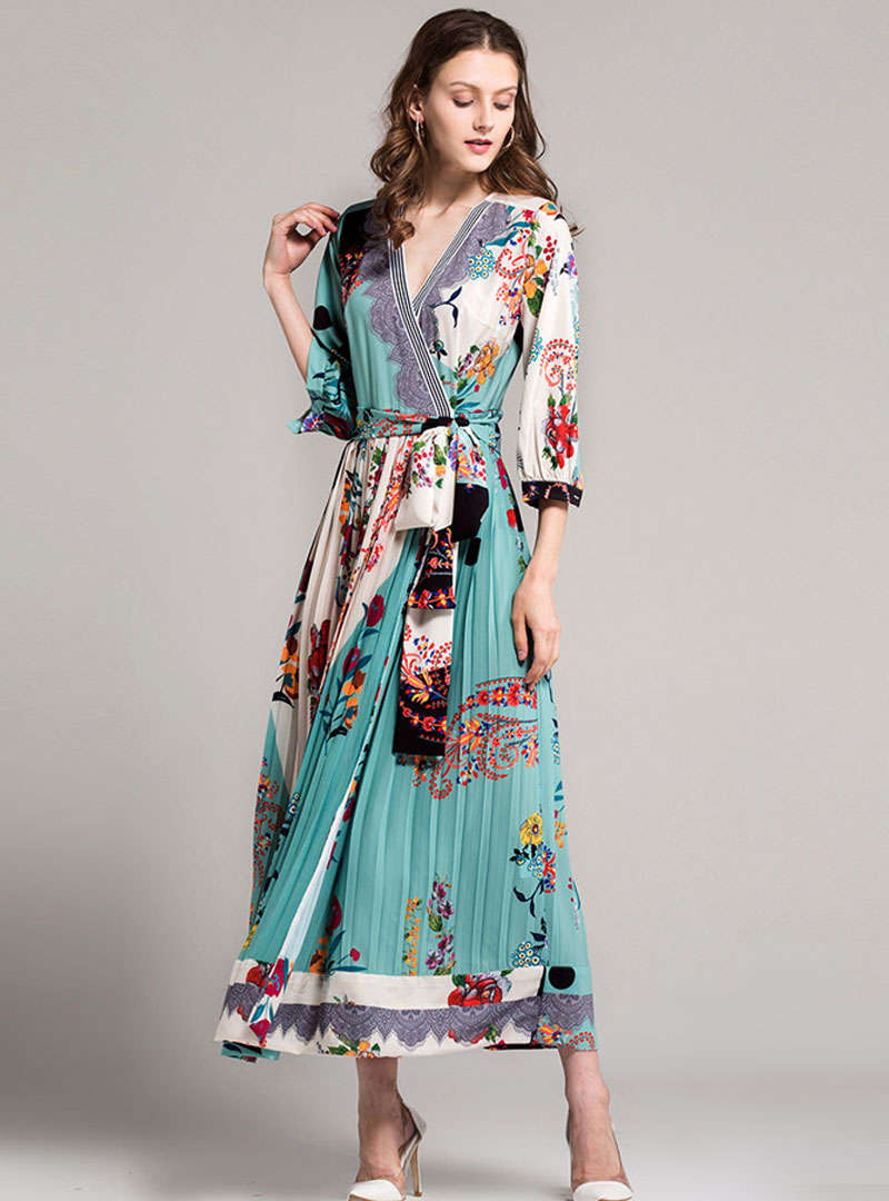 Multi Color V-Neck Pleated Scenery Printed Maxi Dress