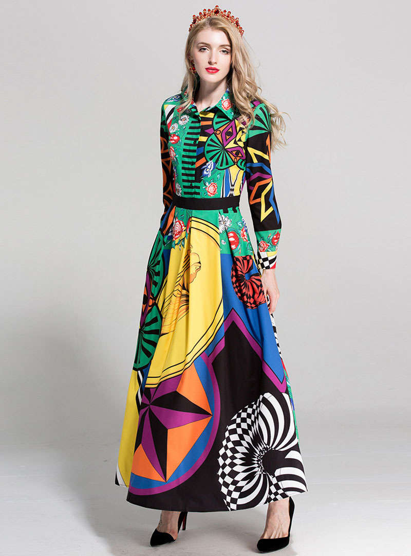 Multi-Color Floral Printed Swing Maxi Dress