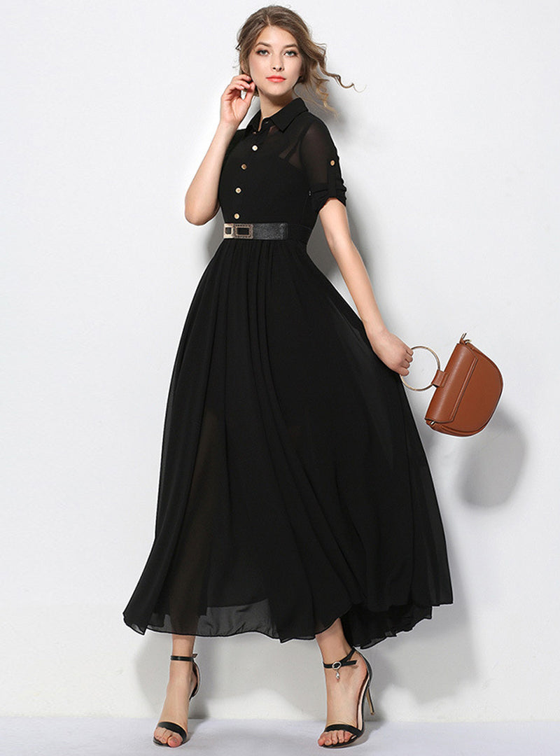 Black Turn Down Collar Belted Maxi Dress