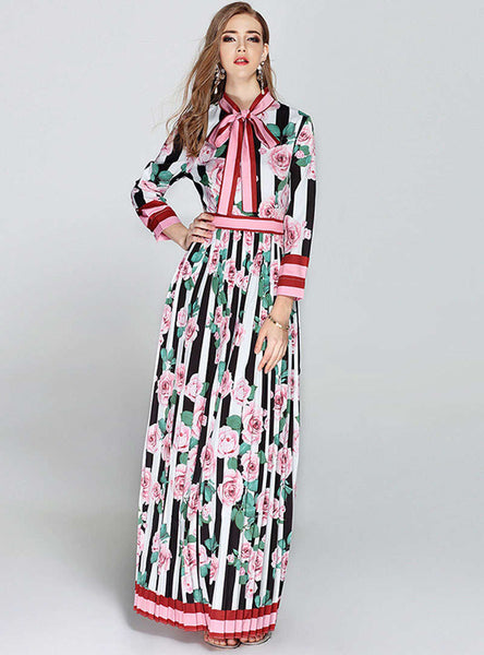 Multi Color Floral Printed Striped Pleated Maxi Dress