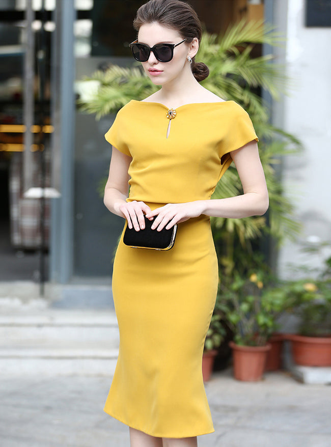 Yellow Slash Neck Fishtail Bodycon Dress