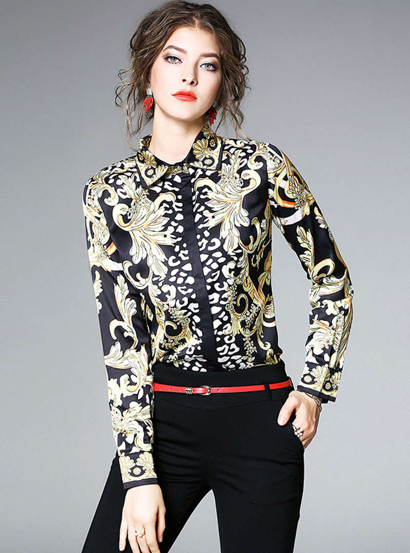Hit Color Retro Floral Printed Blouse
