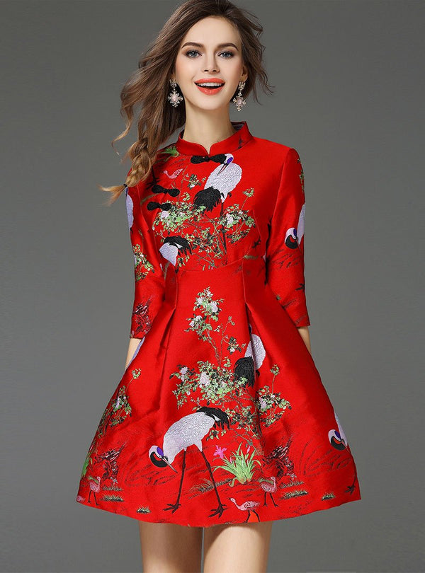 Red Floral Embroidered Cheongsam Mini Dress