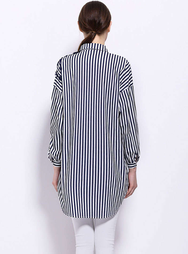Blue High-Low Hem Striped Loose Blouse