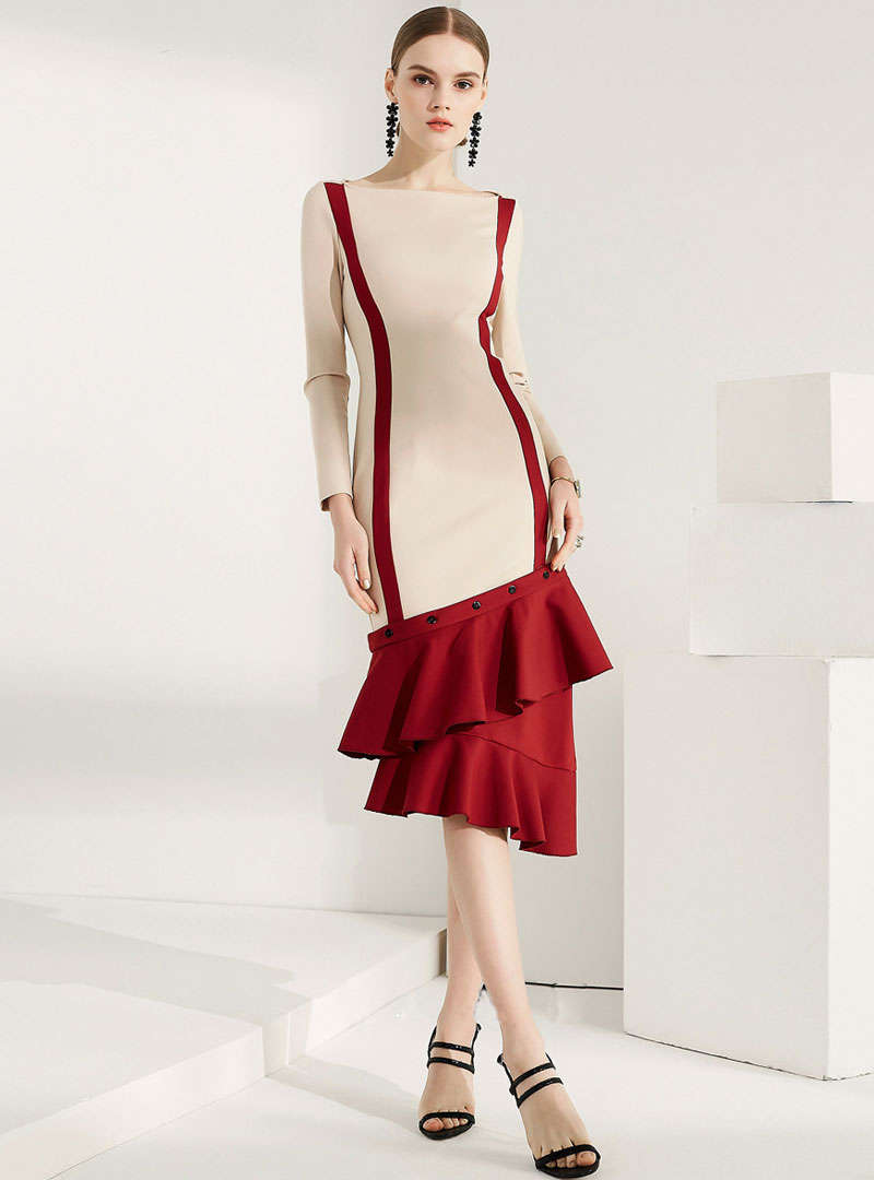 Match Color Boat Neck Mermaid Midi Dress