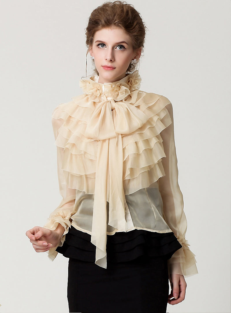 Black Tied-collar Flare Sleeve Blouse