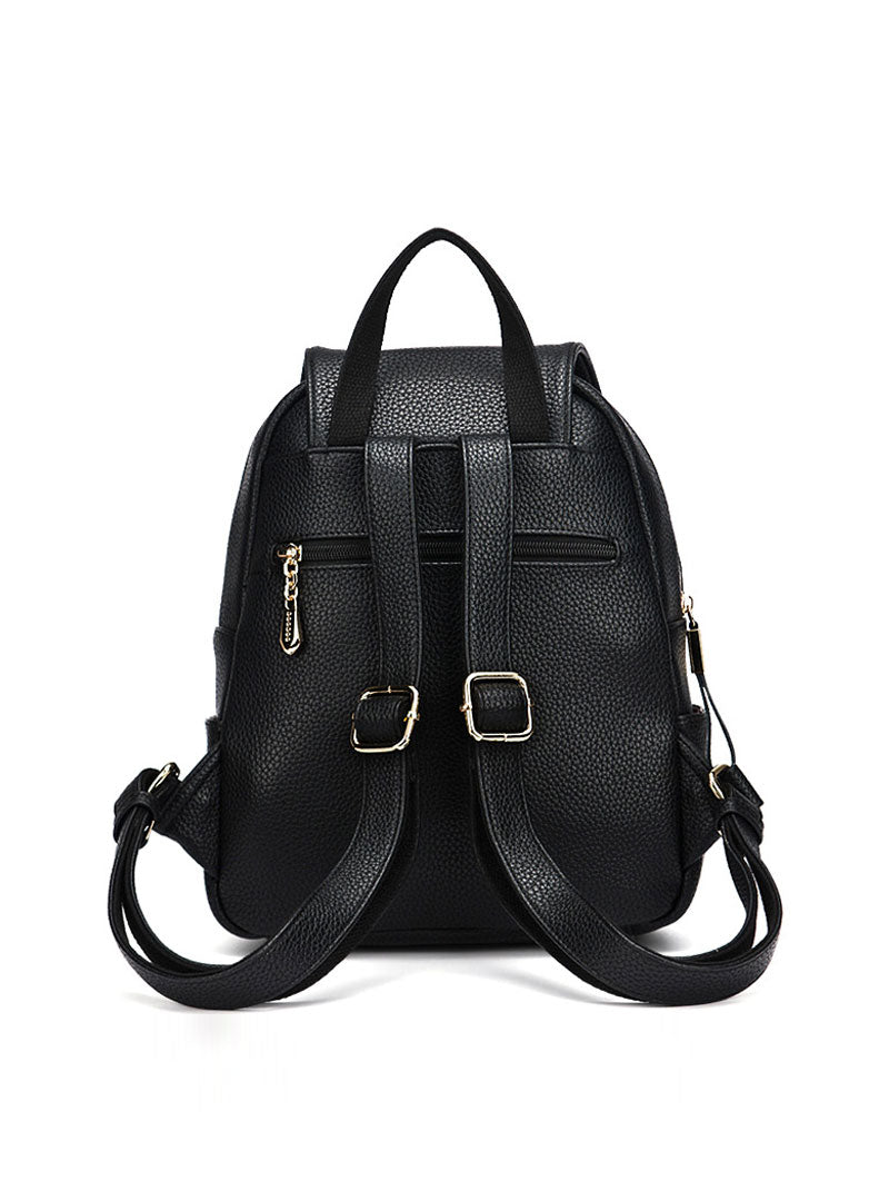 Black PU Backpack With Zipper