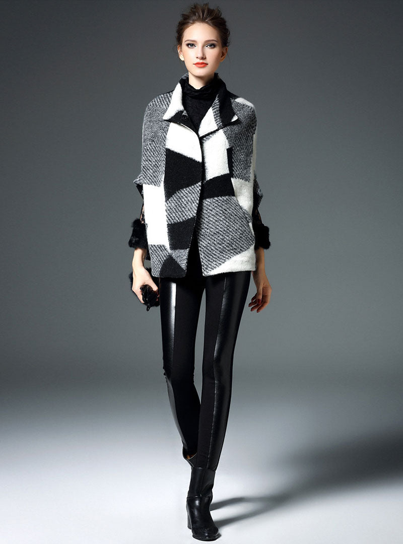 Grey Geometric Pattern Woolen Coat