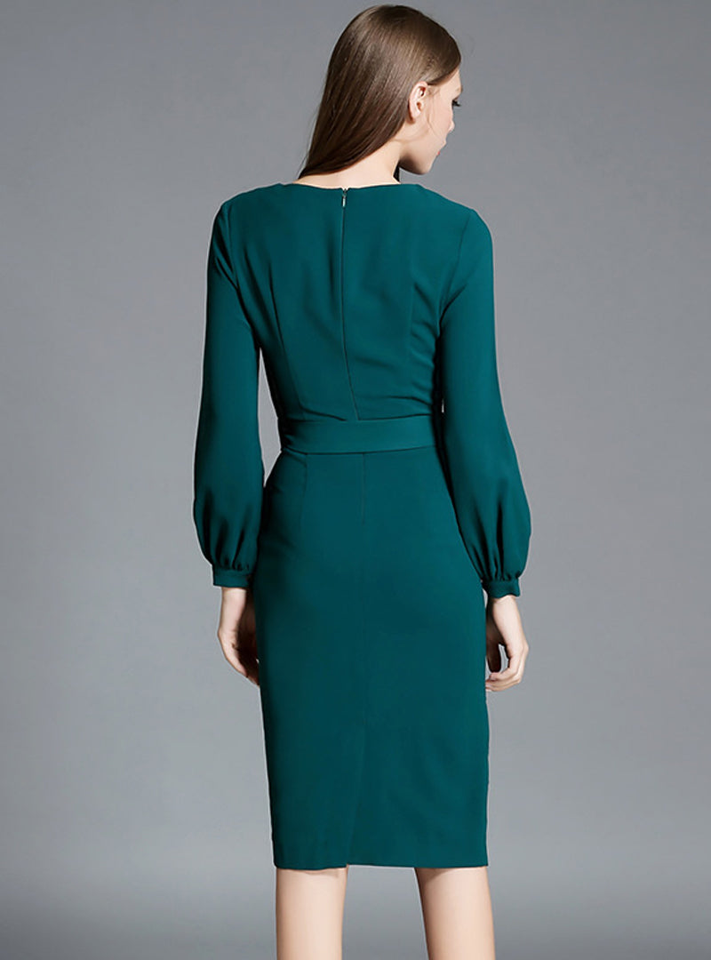 Green Lantern Sleeve Belted Bodycon Dress