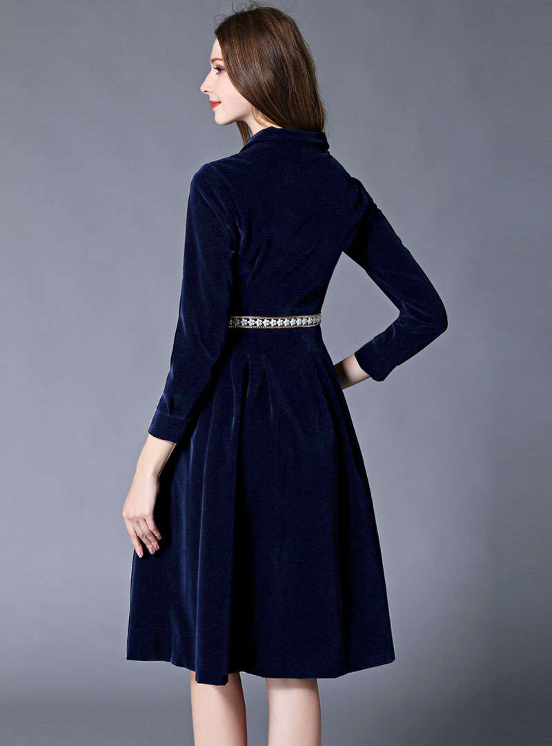 Navy Blue Single-Breasted Belted Midi Dress