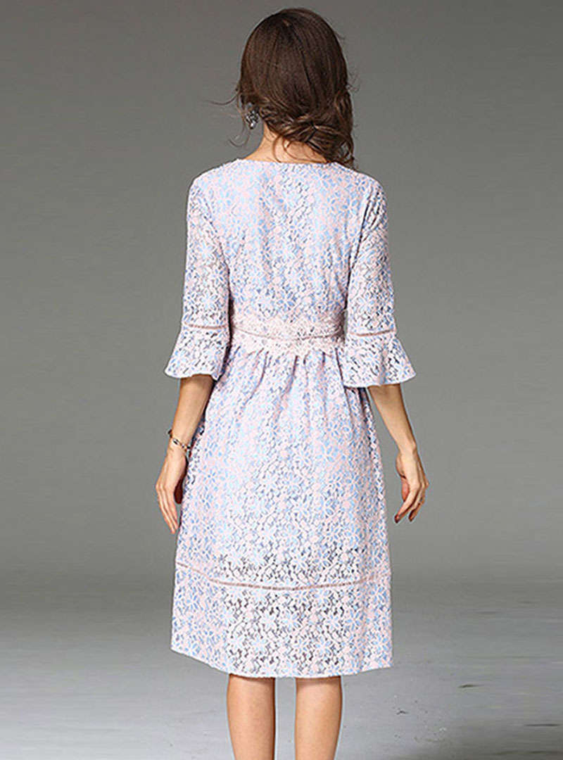 Light Blue Falbala Sleeve Floral Lace Midi Dress