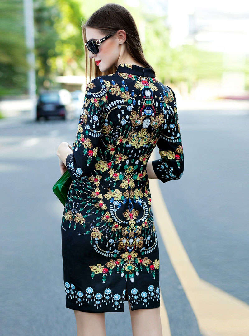 Black Diamond-Studded Floral Printed Mini Dress