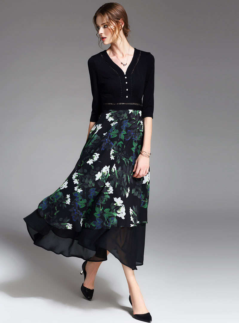 Black Floarl Printed V-Neck Swing Maxi Dress