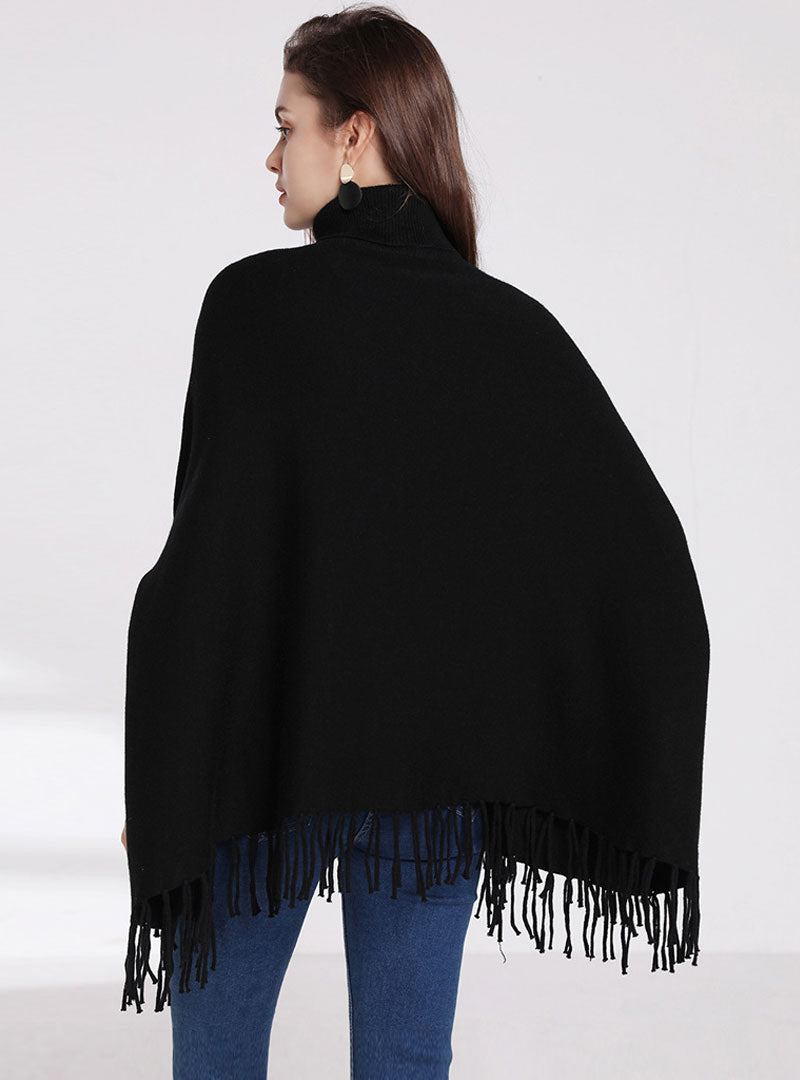 Solid Color Tassel High Neck Sweater