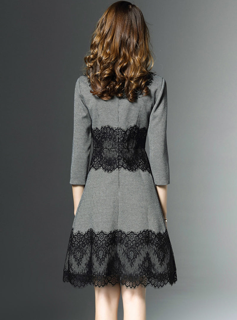 Grey Lace O-neck Midi Dress