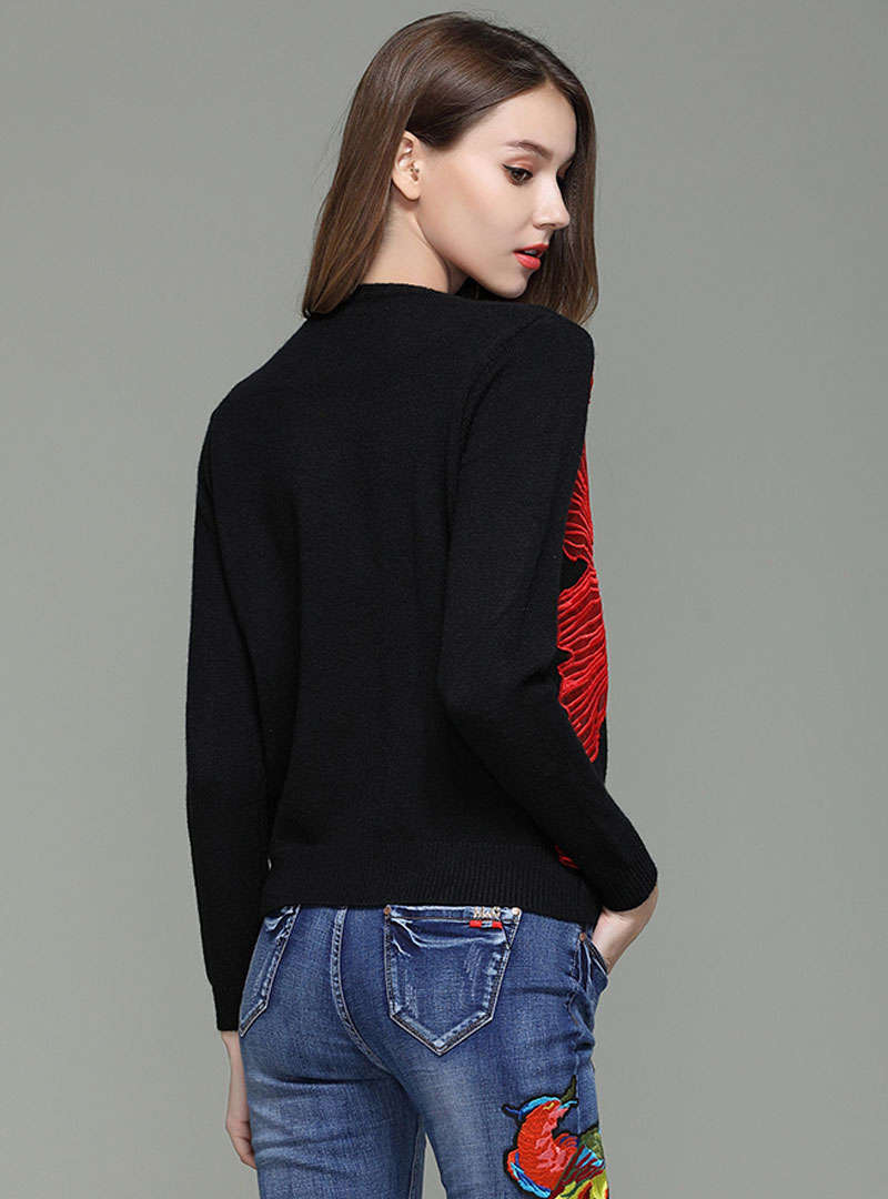 Black Embroidered Beaded Wool Sweater