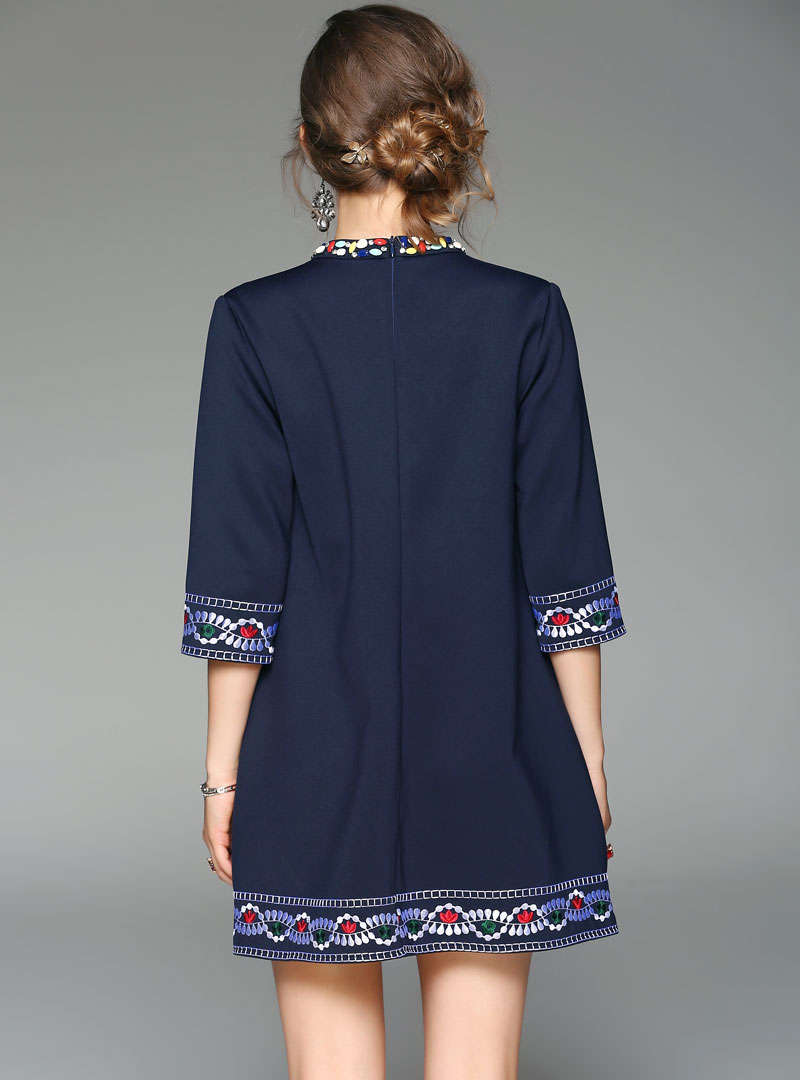 Navy Blue Floral Embroidered Mini Dress