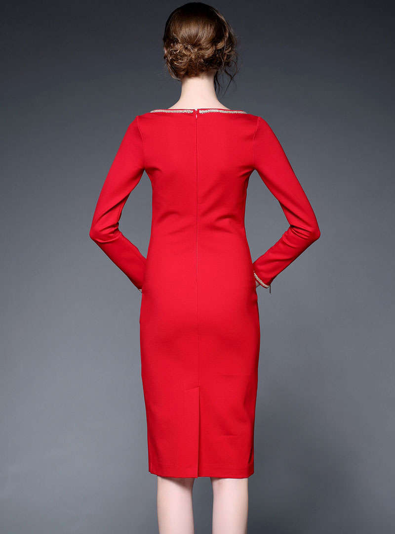 Red Zipper Sleeve Boat Neck Bodycon Dress