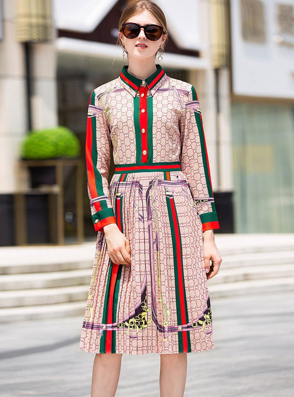 Multi-Color Cinched Waist Shirt Dress