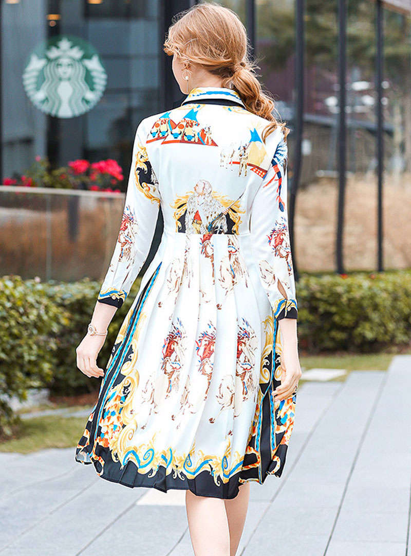 White Floral Printed Swing Midi Dress