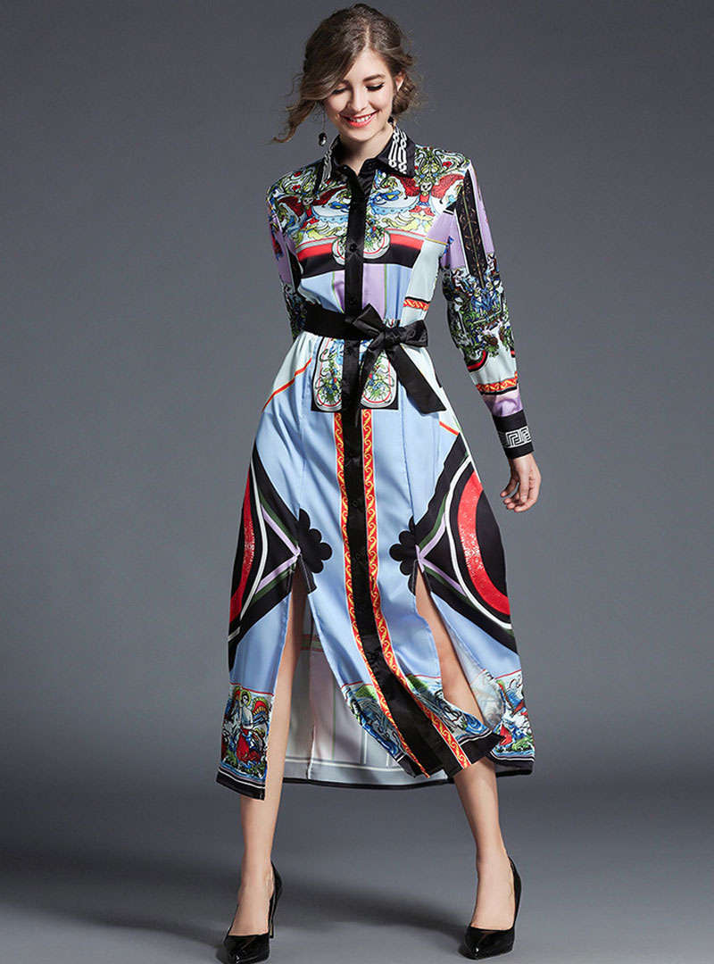 Multi Color Scenery Printed Maxi Dress With Belt