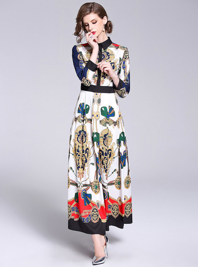 Multi Color Printed Swing Maxi Dress