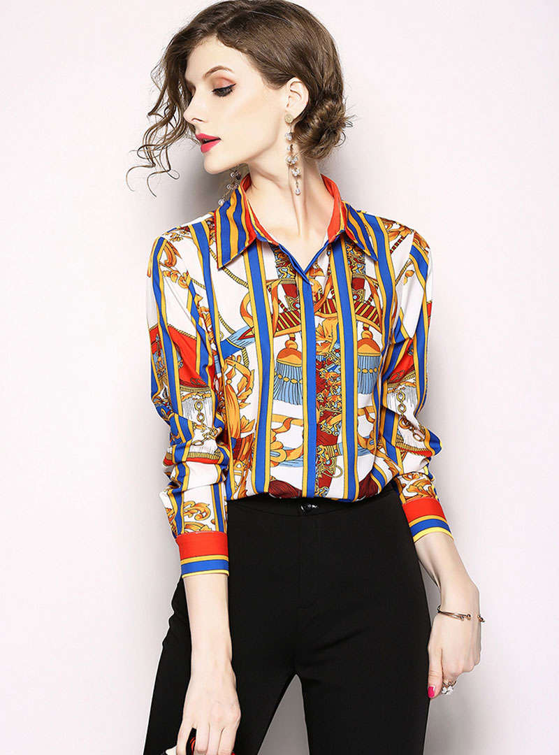 Satin Retro Floral Printed Blouse