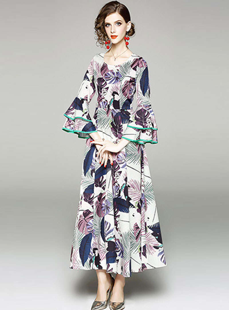 Mutil-Color Floral Printed Ruffled Maxi Dress