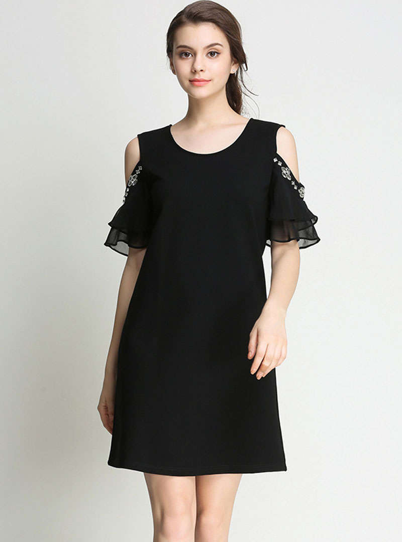 Black Cold Shoulder Mini Dress