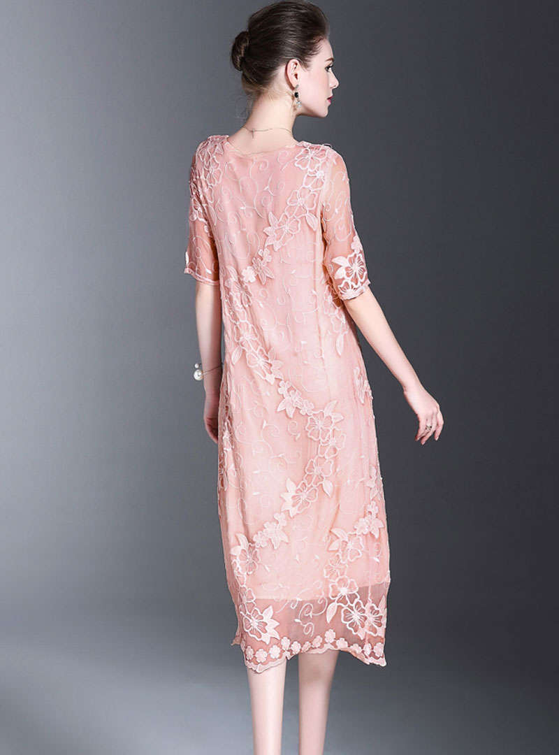 Pink Embroidered Silk Maxi Dress