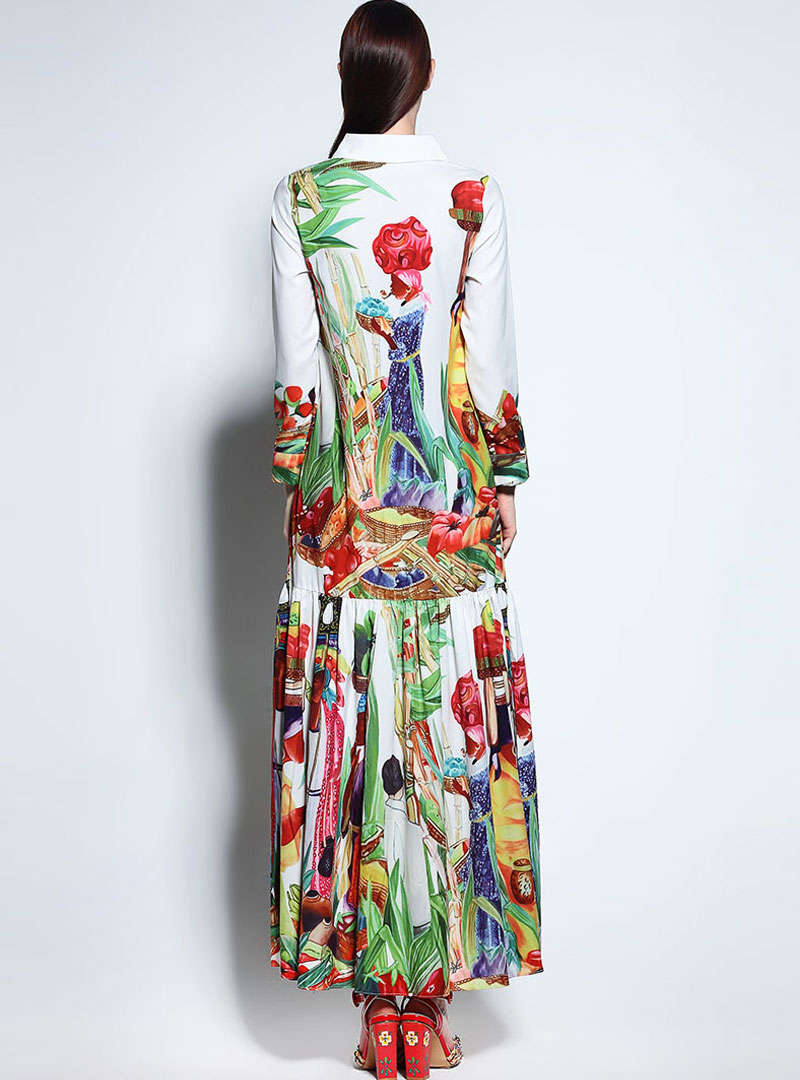 White Floral Printed Flax Maxi Dress