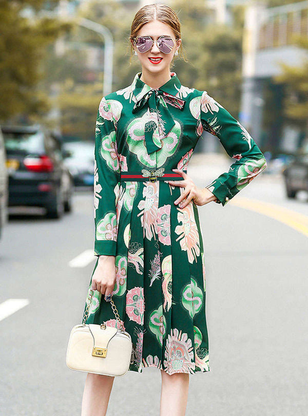 Green Floral Printed Belted Waist Shirt Dress