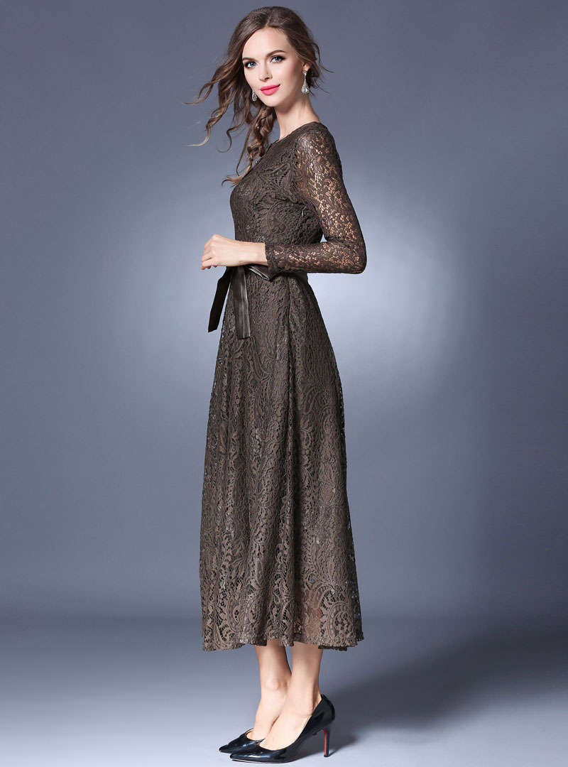 Solid Color Hollow Out Lace Maxi Dress