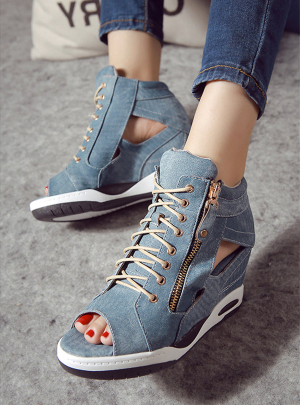Denim Hollow Lace Up Wedge With Side Zipper